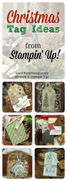 DIY Christmas Gift Tags with Stampin' Up! products. Dress up a package or a Jar of Candies or Cookies! #stampinup #christmas