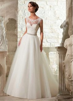 Hochzeitskleider - A Linie Tulle Sheer Sexy Spitze Brautkleider - ein Designerstück von PandaFokus bei DaWanda