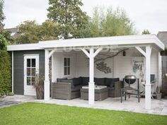 Lugarde Prima race flat roof summerhouse with canopy