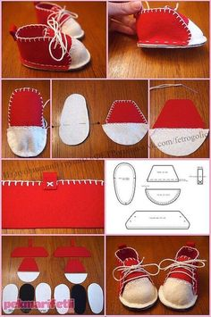41 ideas for baby accessories diy sewing patterns Doll Shoe Patterns, Baby Shoes Pattern, Sewing Patterns, Doll Crafts, Diy Doll, Felt Baby Shoes, Diy Couture, Sewing Dolls, Doll Shoes