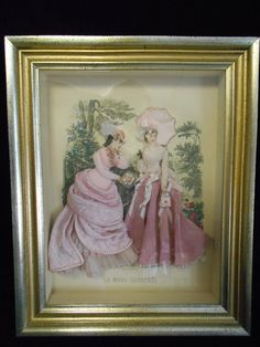 Antique La Mode ILLUSTREE' Embellished Parisian Ladies Shadow Box Art | eBay