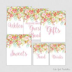 Floral Bridal Shower Table Signs - Printable Floral Bridal Shower Decorations - Welcome Signs - Coral Floral  0004C