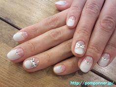 Pearl white reverse French nail art