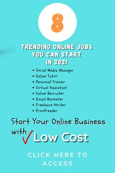 8 Online Business Ideas For 2021 *Social Media Manager *Online Tutor *Personal Trainer *Virtual Assistant *Online Recruiter *Email Marketer *Freelance Writer *Proofreader Click on the image to view tutorials with much more details. #workfromhome #makemoneyonline #passiveincome #jobsfromhome #smallbusiness #tutorials Online Jobs, Wolf Online, Best Business Ideas, Online Personal Trainer, Christmas Lunch, Online Tutoring, Beauty Shots, Work From Home Jobs