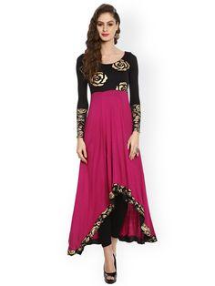 1229619e0f Buy Ira Soleil Black & Magenta Floral Print Anarkali Kurta - Kurtas for  Women | Myntra