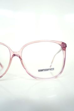 badc53f8bb93 Round Pink Glasses - French Optical Frames - 1980s Oversized Clear Pink  Eyeglasses - Womens Oversize Eighties Optical Frames