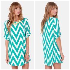 ⚡️Flash Sale⚡️Teal Chevron Shift Dress Worn once, great condition, fits true to size. Lulu's Dresses