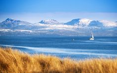 Snowdonia as seen from Pwllheli, pictures of Wales