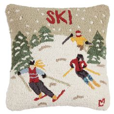 More about the 'Ski Country Hooked Pillow by Chandler 4 Corners' product Wool Pillows, Throw Pillows, Ski Lodge Decor, Winter Fun, Winter Holiday, Winter Sports, Holiday Ideas, Rug Hooking, Decorative Pillows
