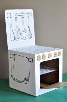 Cardboard box into play kitchen!!Estéfi Machado: Fogãozinho de papelão: