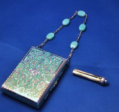 Austrian silver enamel vanity with jade bead handle and champlevé enamel www.compactcollectors.co.uk