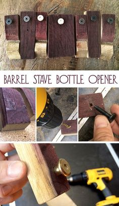 Bruer Ben spent the weekend working on some simple but beautiful barrel stave bottle openers made from our used barrels. Try making some with different shapes or materials for the handle. Beer Bottle Crafts, Beer Crafts, Diy Bottle, Bottle Shop, Summer Camp Crafts, Camping Crafts, Wine Barrel Furniture, Barrel Projects, Beer Brewery