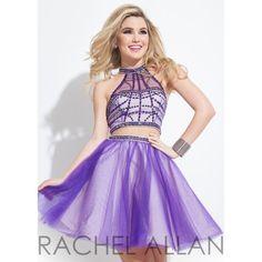 Rachel Allan 4050 Vibrant A-Line Tulle Mini Dress ($398) ❤ liked on Polyvore featuring dresses, short dresses, tulle dress, a line silhouette dress, purple dress and mini dress