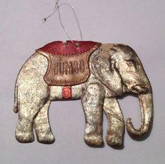 Dresden Jumbo the Elephant ornament Antique Christmas Ornaments, Vintage Christmas, Jumbo The Elephant, Dresden, Feather Tree, Flat, Guide, Antiques, Holiday Decor