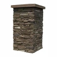 Slatestone Brunswick Brown 30 in. x 16 in. Faux Polyurethane Stone Column Wrap (4-Piece) Stone Siding Panels, Faux Stone Siding, Porch Column Wraps, Faux Stone Veneer, Decorative Screen Panels, Outdoor Stone, Outdoor Areas, Fake Stone, Stone Pillars