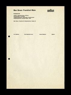 Letterhead design for Braun, Designed by Peter Seitz under the...