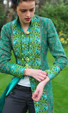 Nehru Jacket in Green Paisley Shawl with Paisley Leaf Embroidery:
