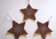 Cookie Star Pattern Felt Christmas Decorations  by FudgeandPoppy, £5.00