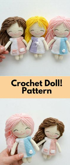 Crochet Doll, Pattern, PDF, English, French and Spanish #ad #amigurumidoll #amigurumipattern #amigurumi #crochet #crocheting #haken #haëkeln #patternsforcrochet #crochetpattern #pattern #printable #instantdownload