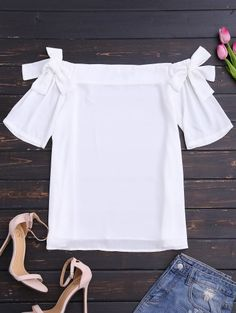 SHARE & Get it FREE | Bowknot Chiffon Off Shoulder Top - WhiteFor Fashion Lovers only:80,000+ Items • New Arrivals Daily Join Zaful: Get YOUR $50 NOW!