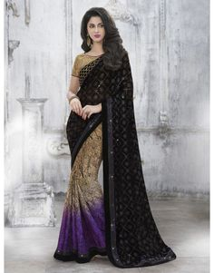 Black and Purple Georgette Saree with Sequins Work