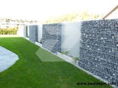 Gabionenzaun Ideen   Eine Mauer Mit Holzelementen Imitieren | GardenIdeas |  Pinterest Good Looking