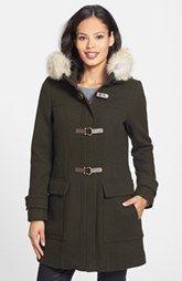 Make Trina Turk Genuine Coyote Fur Trim Wool Blend Duffle Coat Ads Purchase