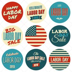 American Labor Day Sickers Collection  #GraphicRiver         A set of nine Labor Day retro design stickers isolated on white background. ZIP includes a high resolution JPG (4000×4000 pixels), a transparent PNG, scalable vector EPS8 and AI10 files and a text file with links for the fonts, used in the illustration.     Created: 1August13 GraphicsFilesIncluded: TransparentPNG #JPGImage #VectorEPS #AIIllustrator Layered: Yes MinimumAdobeCSVersion: CS Tags: america #blue #card #celebration…