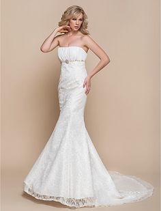 [XmasSale]Wedding Dress Trumpet Mermaid Court Train Lace Strapless With Pearl Detailing and Crystal Detailing - USD $ 79.99