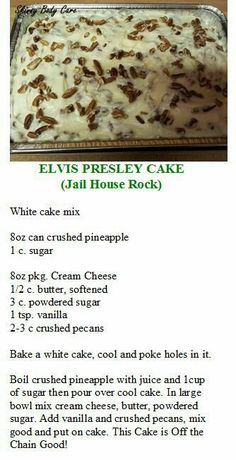 Elvis Presley Cake by celeste. Could totally make this with a GF white cake. Köstliche Desserts, Delicious Desserts, Dessert Recipes, Diabetic Desserts, Poke Cakes, Cupcake Cakes, Cupcakes, Elvis Presley Kuchen, Elvis Presley Pound Cake Recipe