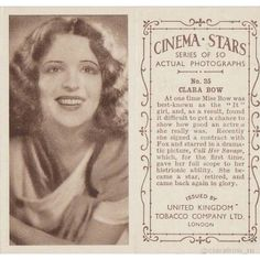 Rare Clara Bow 1934 collectible UK Tobacco Card #rare stobaccocard #cigarettecard #clarabow #1930s #actress