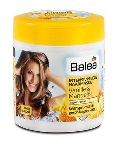 Маска Balea с экстрактом ваниля и миндальным маслом восстанавливает сухие и поврежденные волосы.