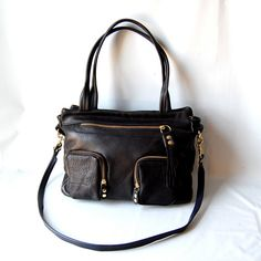 Willow leather laptop/ipad bag in black