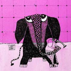 ElkeTrittel Art ink, Acrylic on paper Art Fantaisiste, Collage, Whimsical Art, Artsy Fartsy, Photo Art, Album Photos, Ink, Watercolor, Paper