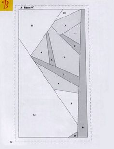 Paper-pieced tree (half of pattern)