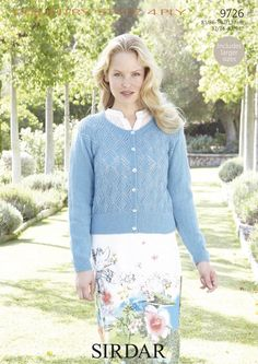 Lace Diamonds Detail Cardigan in Sirdar Country Style 4 Ply - 9726 - Women - For - Patterns