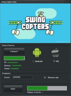 Swing Copters Hack Cheat Tool Hello, I want to introduce you Cheats for Swing Copters. Swing Copters Hack Tool is another program that will empower you to development on the most recent Android and iOS diversion. This Cheat has two essential capacities: unlimited Score generator and Remove Ads. Swing Copters