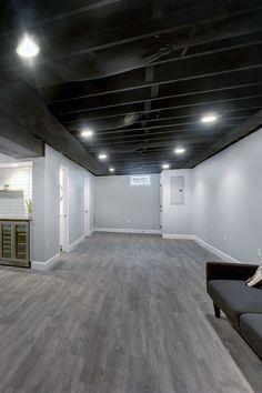 Basement Color Schemes, Basement Wall Colors, Gray Basement, Small Basement Remodel, Basement Walls, Basement Renovations, Basement Flooring, Basement Bathroom, Unfinished Basement Ceiling