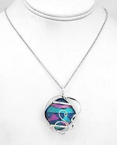 Wrapped Wire Dichroic Glass Pendant Taxco Mexico