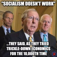 Republikkkans Trickle down economics is Socialism for the Rich Moochers. Trickle Down Economics, Democratic Socialist, Republican Party, Gop Party, Republican Senators, Mitch Mcconnell, Political Views, Socialism, Social Justice