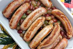 Roasted Sausages and Grapes recipe. Sweet, savory, divine.