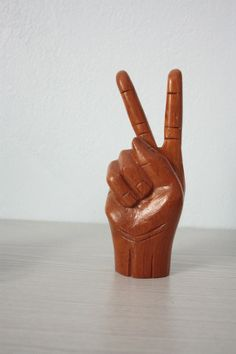 50 Perc Off 24 Hrs Only Give Peace a Chance - vintage handmade 70s solid wood carved hand giving piece sign