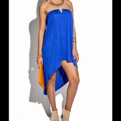 """🎉HP🎉 Blue Strapless Dress #GT-14-BLU-M strapless cocktail dress. 95% rayon 5% spandex. Hand Wash. Made in USA. Measurements: Bust 34-36, Waist 27-29, Hip 36-38, Back length 37"""", Front length 23"""" W by Wenjie Dresses Strapless"""
