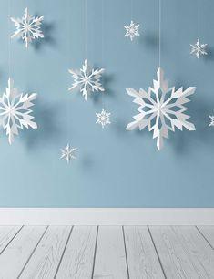 Snowflake Paper Cutting Hanging Before Blue Wall Backdrop - Modernes Pvc Backdrop, Wall Backdrops, Digital Backdrops, Frozen Decorations, Snowflake Decorations, Christmas Decorations, Snowflake Photos, Paper Snowflakes, Diy Christmas Ornaments