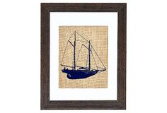 elegant depiction of a schooner, with its ropes forming a beautiful triangular design. Hand-printed onto burlap and framed in distressed wood    Schooner Sailboat on OneKingsLane.com