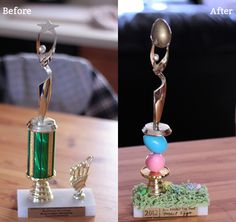 Easter Egg Hunt trophy out of an old kid's sports trophy