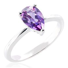 CHROMA Sterling Silver Pear Swarovski Birthstone Ring (Size 6, ruby), Women's, Red
