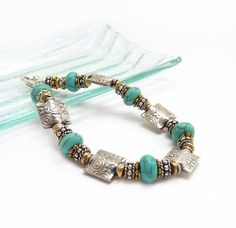 Sterling Silver Turquoise Bracelet - Mixed Metals - Layering Bracelet - Etched Silver Beads - Bali Style - Southwestern - Howlite