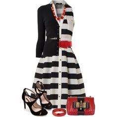 Striped Dress, created by daiscat on Polyvore