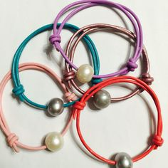 Pastel Pearl leather bracelets